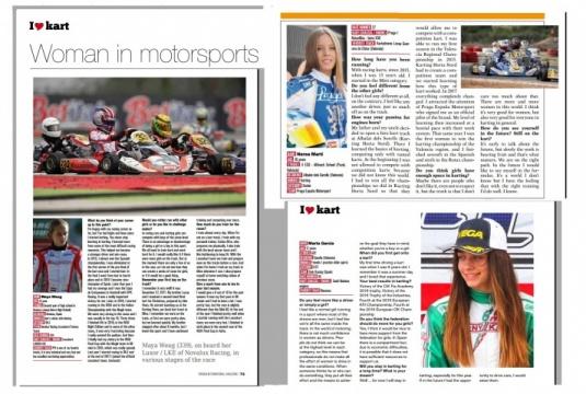 Marta García, Maya Weug y Nerea Martí en el escaparate del karting internacional.
