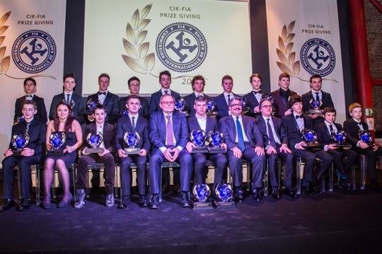 Gala CIK FIA Campeones 2013 - Arturo Melgar entre los premiados