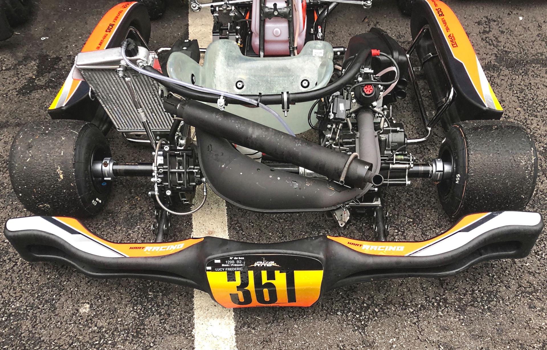 El chasis Rotax DD2, con parachoques trasero homologación CIK-FIA, en las pruebas del calendario de karting FIA 2020.